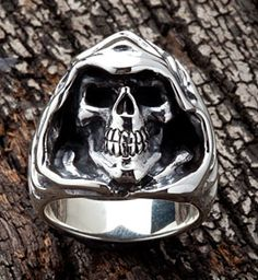 Grim Reaper Ring, Silver Skull Ring, Goth Ring, 925 Sterling Silver Biker Rings by SterlingMalee Sterling Silver Bracelets, Silver Jewelry, Silver Rings, Silver Skull Ring, Gothic Earrings, Skull Jewelry, Men's Jewelry, Dress Jewellery, Jewellery Sale