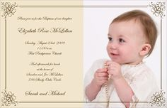 Scroll Frame Photo Baptism Invitations