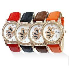 Vintage Women Faux Leather Crystal Butterfly Bracelet Quartz Dress Wrist Watch