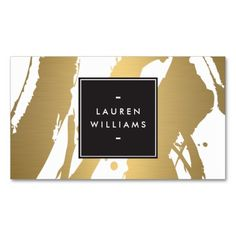 Fully Customizable Gold Painted Brushstrokes Business Card Template - great for artists, crafters, decorators, cosmetologists, interior designers and more