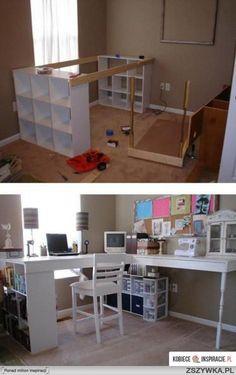 Pracovní prostor a k tomu vlevo u knih pohodlné křeslo na prohlížení knih - inspirace