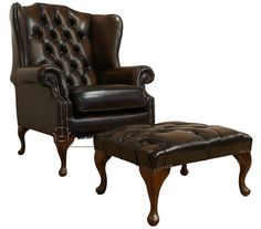 Chesterfield Offer Mallory High Back Wing Chair Footstool, Leather Sofas, Traditional Sofas