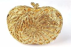 2016 New Women Purses and Handbags Apple-shaped Crystal Ladies Hand Bags Woman Clutch Red Golden Silver Color