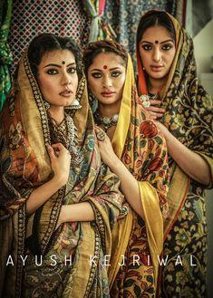 Kalamkari Sarees by Ayush Kejriwal Indian Ethnic Wear, Indian Girls, Indian Dresses, Indian Outfits, New Suit Design, Kalamkari Designs, Kalamkari Saree, Kanjivaram Sarees, Indian Photoshoot