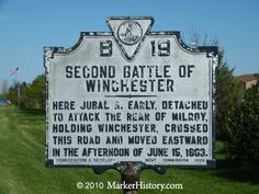Battle of Winchester plaque Grave Markers, Shenandoah Valley, Civil Wars, Gettysburg, Local History, Monuments, Winchester, Virginia, Battle