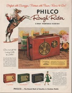 1956 Philco Portable Radio Mustang 676 Sportster 675 Knockabout 672 Rancher Ad