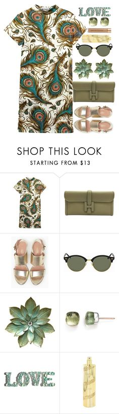"""""""Peacock!"""" by marialibra ❤ liked on Polyvore featuring The Bee's Sneeze, Hermès, Max&Co., Ray-Ban, Pomellato, Aquolina and Kevyn Aucoin"""
