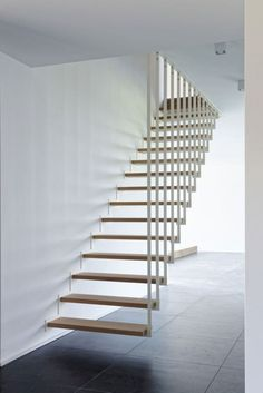 15 Awesome Floating Staircase Ideas If we talk about the staircase design, it will be very interesting. One of the staircase design which is cool and awesome is a floating staircase. This kind of staircase is a unique staircase because Escalier Design, Staircase Design, Staircase Ideas, Stair Design, Staircase Remodel, Wooden Staircases, Spiral Staircases, Stairways, Floating Staircase