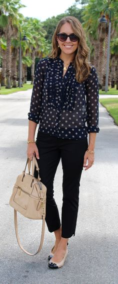 J.Crew polka dot top with Ann Taylor pants