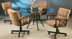 5 pc Ravenwood Round Glass Top Dining Table  Caster Chair Set [ID 68131] #Pastel #DiningTablesSets $2000 on eBay