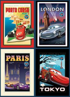 Set 4 Vintage Art Cars Movie Posters London Paris Tokyo Porto Corsa Disney Pixar on eBay!