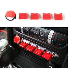 Engine Start/Stop Button Center Console Dashboard Button Switch Button Cover Trim for Ford Mustang 2015 2016 2017 (Red). For product info go to:  https://www.caraccessoriesonlinemarket.com/engine-start-stop-button-center-console-dashboard-button-switch-button-cover-trim-for-ford-mustang-2015-2016-2017-red/