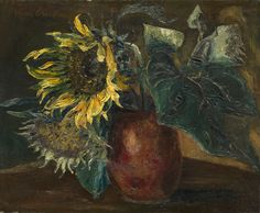 GRIGORIEV, BORIS(1886–1939)   Still Life with Sunflowers, signed. Oil on canvas, 38 by 46 cm.