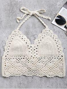 d246aa7afaa57 Crochet Back Tie Bralette Swim Top - OFF WHITE ONE SIZE Crochet Bra