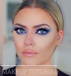 Kim Kardashian Makeup Tutorial: Blue smokey eye for hooded eyes using the Morphe Palette Makeup Tutorials Youtube, Makeup Tutorial For Beginners, Hooded Eye Makeup, Hooded Eyes, How To Apply Eyeshadow, Eyeshadow Looks, Blue Smokey Eye, Latest Makeup Trends, Blue Eye Makeup