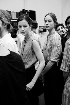 Backstage at Margaret Howell S/S 2012.  Stripes.