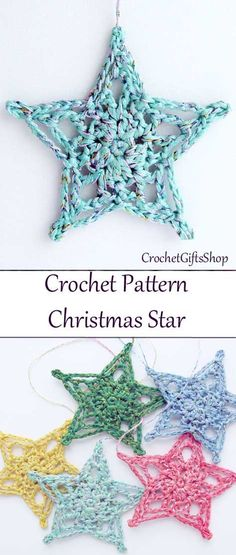 20 Easy Crochet Ornaments and Projects for Christmas - For Creative Juice Christmas Star Ornaments. This pretty, bright star will make a beautiful accent to your Christmas t Crochet Christmas Decorations, Christmas Crochet Patterns, Crochet Christmas Ornaments, Crochet Decoration, Holiday Crochet, Christmas Knitting, Crochet Gifts, Christmas Decorations Diy Crafts, Easy Ornaments