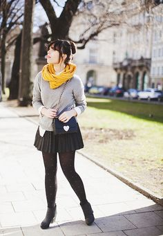 Sweater, skirt, tights & bright infinity scarf >> Carrie @ Wish Wish Wish