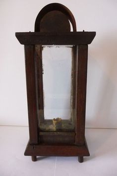 LIGHTING ANTIQUE EARLY WOOD PRIMITIVE FRAME CANDLE LANTERN 19th CENTURY