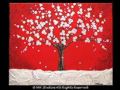 ORIGINAL Modern Abstract Textured Red and White Flowers Tree Branches Landscape Canvas Painting 16 x 20 - Winter's Beauty Arts And Crafts Projects, Crafts To Do, Canvas Painting Landscape, Painting Trees, Canvas Paintings, Red And White Flowers, Drawing Projects, Winter Flowers, Flower Canvas
