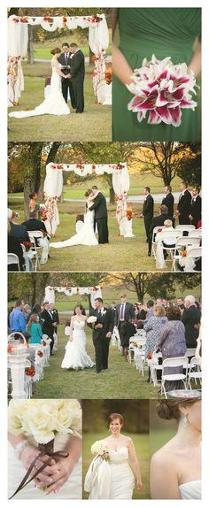 George Dickel wedding fall outside wedding