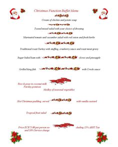 Bayhouse's Holiday Buffet Menu 2012