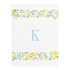 #Personalized #Monogram #Blue #Yellow #Floral #Border #Fleece #Blanket #nursery #college #bedroom #girls #boys http://www.zazzle.com/personalized_monogram_blue_yellow_floral_border_manualwwfleeceblanket-256116444148937390?rf=238213022379565456