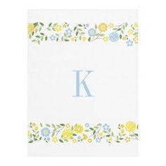 #Personalized #Monogram #Blue #Yellow #Floral #Border #Fleece #Blanket #nursery #college #bedroom #girls #boys http://www.zazzle.com/personalized_monogram_blue_yellow_floral_border_manualwwfleeceblanket-256116444148937390?rf=238213022379565456
