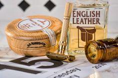 D.R. Harris almond soap bowl, Gillettte Aristocrat, Simpson Jubilee brush, English Leather after shave, Jan 15, 2015