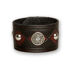 The concho joker - hand colored black and red leather cuff with studs and concho
