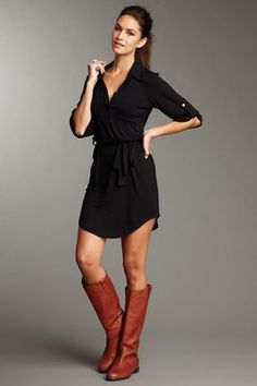 black dress, brown boots