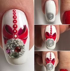 Are you looking for inspiration for christmas nails?Browse around this site for cool X-Mas ideas.May the season bring you happy memories. Nail Art Noel, Xmas Nail Art, Cute Christmas Nails, Xmas Nails, New Year's Nails, Winter Nail Art, Holiday Nails, Winter Nails, Hair And Nails