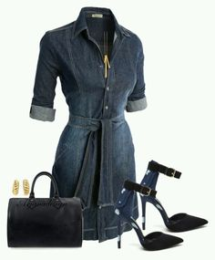 A fashion look from November 2015 featuring blue denim dress, dressy shoes and vintage bags. Browse and shop related looks. Classy Outfits, Stylish Outfits, Fashion Outfits, Womens Fashion, Fashion Trends, Mein Style, Looks Style, I Love Fashion, Style Fashion