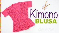 Blusa #Kimono tejida en dos agujas... vídeo tutorial del paso a paso! #knit