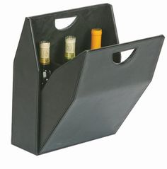 Triple Bottle Wine Box - Black  This triple bottle wine box lets you carry you wine or spirits in style.  Stunning faux leather makes this clever wine tote a classic gift for any wine lover.  Great for bosses, corporate execs, and groomsmen.