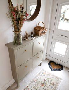 Ikea Hemnes Shoe Cabinet, Shoe Cabinet Entryway, Cabinet Decor, Small Shoe Cabinet, Ikea Hemnes Nightstand, Ikea Dresser Hack, Ikea Makeover, Cabinet Makeover, Ikea Hallway