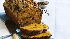 Dotted with chocolate chips, pumpkin bread is almost like a delightful dessert!