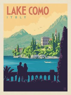 24x36 Lake of Como Italy/'s Loveliest Lake 1920s Vintage Style Travel Poster