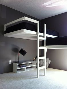 Cool puter setups and gaming loft bed setup. Custom bunk beds simple bed for children or cabins. Bedroom queen sets twin beds for teenagers cool really teenage teens ideas room engross Bunk Bed Sets, Bunk Beds For Girls Room, White Bunk Beds, Modern Bunk Beds, Bunk Beds With Stairs, Kids Bunk Beds, Living Room White, White Rooms, Cool Loft Beds
