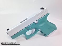 For Sale: Tiffany Blue and White Pearl Glock 26 Gen3 9mm Handgun for sale online.