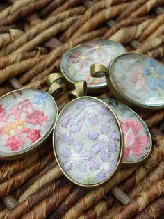 How to make beautiful jewelry pendants out of fancy ladies handkerchiefs!