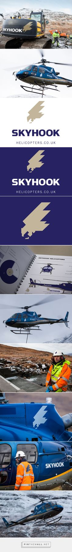 Brand & logo design by my:creative - SkyHook Helicopters is a new business based in North Argyll on the West Coast of Scotland. As the name suggests the principal activity is the lifting of large loads to inaccessible places, like mountain sides and off shore areas. SkyHook have become essential in facilitating new rural ventures like hydro power schemes. SKYHOOK © www.thisismycreative.com - created on 2016-01-26 16:37:25