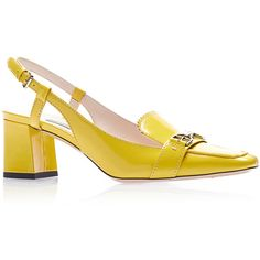 Yellow Leather Sandal | Moda Operandi (35.635 RUB) ❤ liked on Polyvore featuring shoes, sandals, square shoes, genuine leather shoes, chunky heel shoes, wide heel shoes and retro sandals