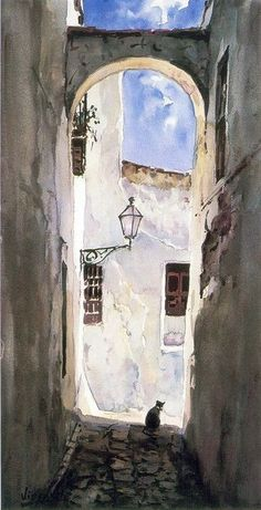 Very basic water colour drawing - image does look very - not a lot of contouring. Watercolor Architecture, Watercolor Landscape, Landscape Paintings, Architecture Art, Watercolor Sketch, Watercolor Illustration, Watercolour Painting, Painting Inspiration, Art Inspo