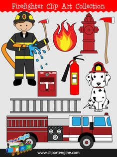 The royalty free vector graphics included are a firefighter, dalmatian, fire alarm, fire axe, fire, fire engine, fire extinguisher, fire hydrant, and a ladder.