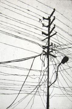 "Christine Schubert - ""Mast"", Drawing, Kaltnadelradierung, 2010, 77x57cm"