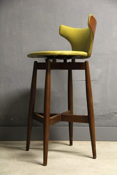 Seymour James Wiener; Walnut Swivel Bar Stool for Kodawood, c1960.