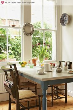An Eclectic Edwardian House in South London — Heart Home Classic Dining Room Furniture, Cool Furniture, Kitchen Furniture, Table And Chairs, Dining Table, Table Legs, Dining Area, Blue Tables, Wood Chairs