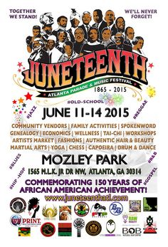 New flyer! Same event! Mark your calendars. This will be the largest Juneteenth celebration in the Southeast. We will start with a CommUnity clean-up & end with a FREE 4 Day celebration that will include a Parade with a Marching Band, Workshops, Vendor's Market,  Farmer's Market, Music, Live Entertainment, Drummers, African Dancers, Fashion Show, Natural Hair Show, Martial Arts Exhibitions, Children's Zone, Chess, Double Dutch, Sports, Genealogy, & so much more!  #juneteenth #events…
