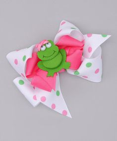 White Polka Dot Bow & Green Frog Clip